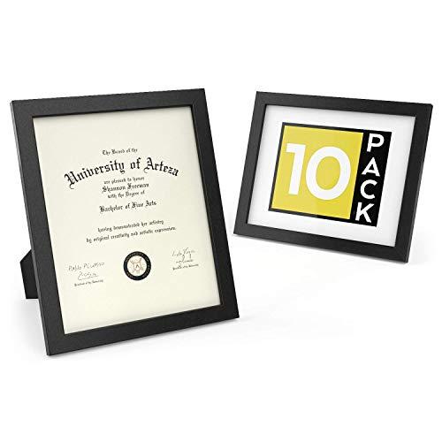 ARTEZA Dokumentenrahmen und Zertifikatsrahmen | 8 x 10 Zoll 20.3 x 25.4cm | 10er-Pack Bilderrahmen | Rahmen mit Holzoptik | Vorderseite aus Reinem Glas | Fotorahmen für Wand und zum Aufstellen - Bilderrahmen, 10x8