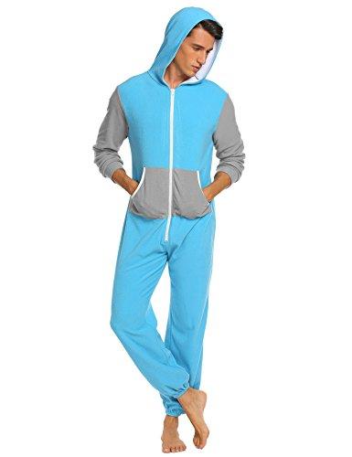 ADOME herren Strampelanzüge Jumpsuits Pyjama Nachthemd lang Nachtwäsche Schlafanzug overall Kapuzenkostüm Sleepwear mit Reißverschluss und (Mit Strampelanzug Erwachsenen Kapuze)