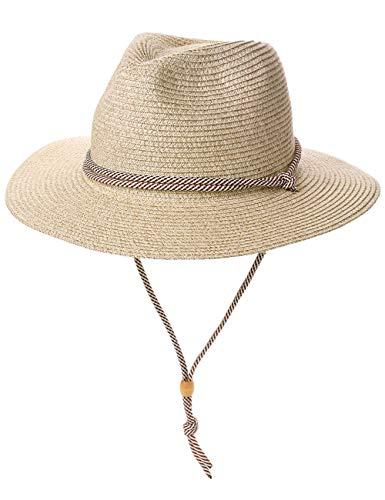 Cowboy-Hut für Herren und Damen, mit breiter Krempe, verstellbar, mit Kinnriemen Gr. L, 00722B_beige Mix