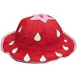 Kanggest Sombrero del Cubo del Algodón del Verano del Bebé con Gotas de Agua Patrón Sombrero de Peces Pequeños para Viajes Playa de Protección Solar (Rojo)
