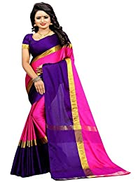 High Glitz Fashion Women's Poly Cotton Sari With Blouse Piece