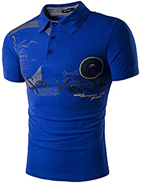 Uomo Polo Top T-shirt Camicia con Scollo a V e Bottoni per Correre Tennis Golf X-Large Blu