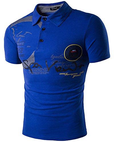 Uomo polo top t-shirt camicia con scollo a v e bottoni per correre tennis golf x-large blu