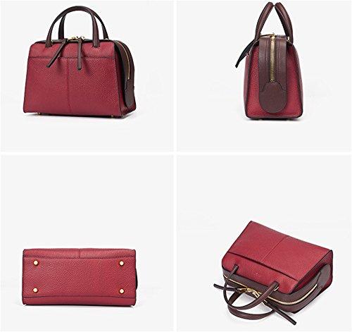 Xinmaoyuan borse Donna Primavera borsette in cuoio sezione verticale colore puro Boston Bag,Rosa Rosso