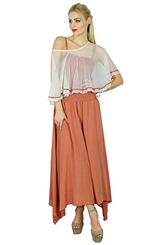 Bimba Femmes Long Maxi Dress smocks taille Top Comes With Poncho Top Chic Cap Rosy Brown