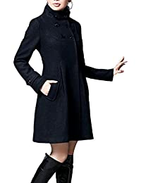 ZhuiKun Mujer Chaqueta Larga de Elegante Abrigo Trench Doble Botones Jacket Coat Outwear con Capucha