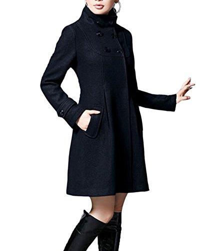 Mujer Chaqueta Larga de Elegante Abrigo Trench Doble Botones Jacket Coat Outwear con Capucha Negro XXL