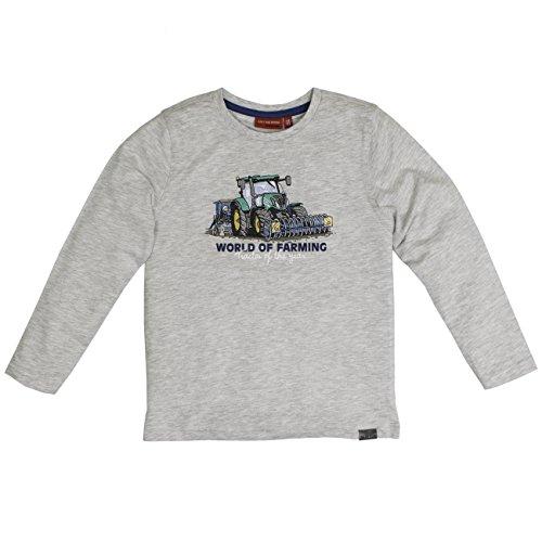 SALT AND PEPPER Jungen Langarmshirt Longsleeve Tractor Uni, Grau (Light Grey Melange 205), 104 (Herstellergröße: 104/110)