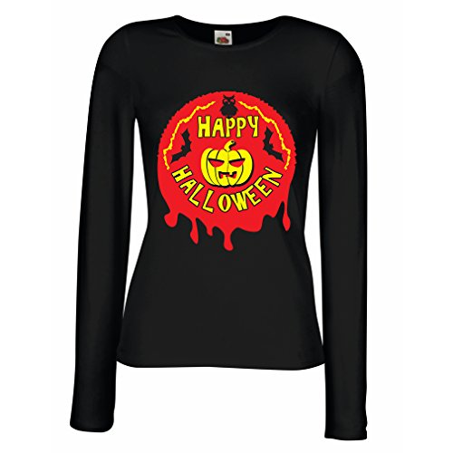 meln T-Shirt Happy Halloween! - Party Clothes - Pumpkins, Owls, Bats (XX-Large Schwarz Mehrfarben) ()