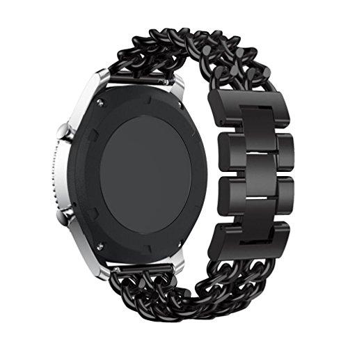 Preisvergleich Produktbild Sansee Raster Metall Uhr Kettengürtel Edelstahl Uhrenarmband Ersatzband für Samsung Gear S3 Frontier (Schwarz)