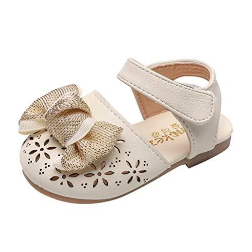AIni Schuhe Baby Mode Beiläufiges 2019 Neuer Kleinkind Säuglingsbaby Mädchen Höhlen Heraus Elegante Bowknot Prinzessin Schuhe Sandals aus Krabbelschuhe Taufschuhe (17,Beige) (Kleinkind Kleid Mädchen Beige Schuhe)