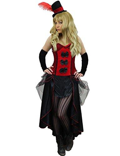 Yummy Bee - Burlesque Korsett Can Can Showgirl Saloon Kostüm + Strumpfhose Streifen Damen Größe 34 - 46 ( 44-46, (Burlesque Kostüme Showgirl)