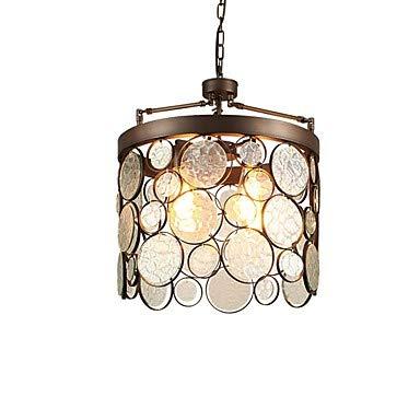 WJFXG 3-Licht Kreis Kronleuchter Zylinder Pendelleuchte Downlight Antik Messing Metall Glas Kreativ, 110-240V für Wohnzimmer Schlafzimmer Küche Esszimmer, 36 X 46cm -