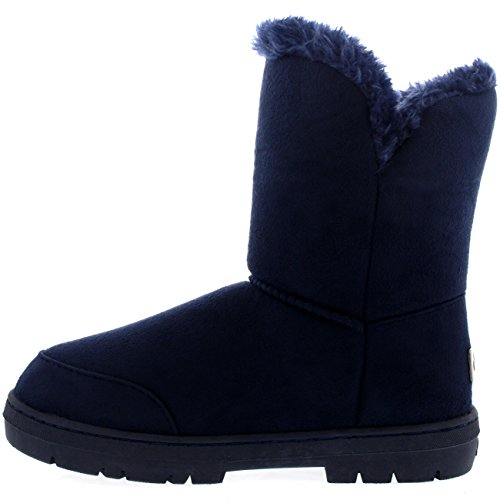 Fur Boots Marine Schuhe Damen Knopf Schnee Fell Regen Stiefel Single Winter 1xwgAq8C