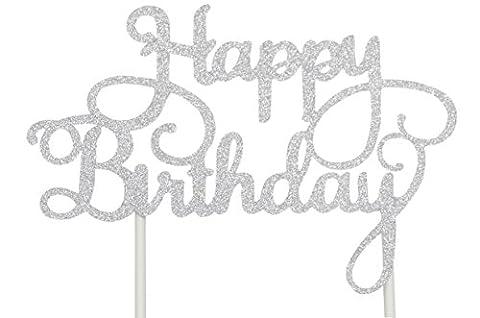 putwo 1Zählen handgefertigt Happy Birthday Kuchen dekorieren Birthday Cake Toppers Party Supplies–Silber