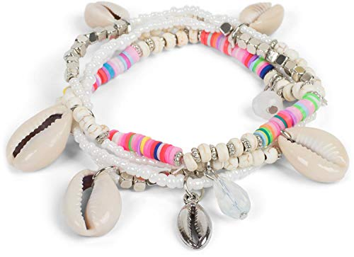 styleBREAKER Damen 4 reihiges Armband mit verschiedenen Perlen und Muschel Anhängern, Gummizug, Kugelarmband, Strandarmband, Schmuck 05040169, Farbe:Weiß-Bunt