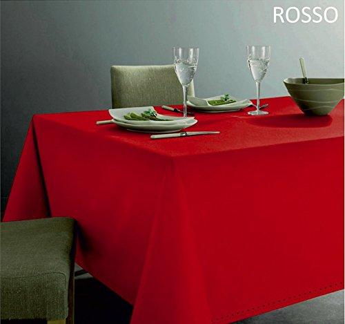 Tovaglia natale rossa in 100 %cotone. altissima qualità. bordo lavorazione gigliuccio. misura 140 x 180 cm. tavolo da 6 persone