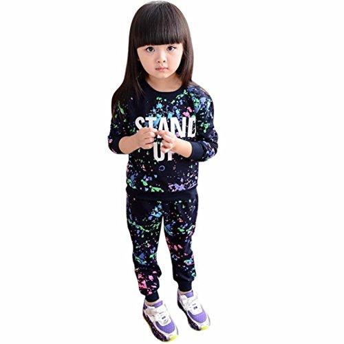 LMMVP Bébé Ensemble de Vêtements, Enfant Filles Garçon Lettres de Peinture Couleur Pull à Manches Longues + Costume Pantalon des Sports 3-7ans (140(6-7T), Noir)