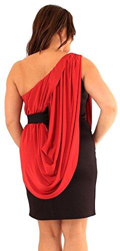 Chocolate Pickle ® nouveaux Femmes Grande Taille One Shoulder Drape Robe de soirée bodycon 46-52 Megento