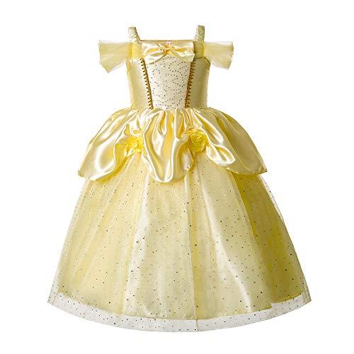 Pettigirl Nias Princesa Dorada Belleza Traje Mgico Fantasa Vestir 6 aos