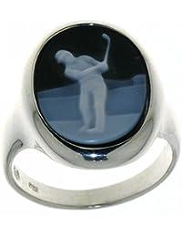 Derby Ring Gemme Achat mit Golfmotiv 16 x 12 mm Kamee Sterling-Silber 925