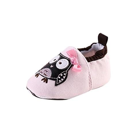 Chaussures de bébé,Transer ® Joli bébé 0 ~ 18 mois fille Toddler doux léopard semelle chaussures en cuir (12 ~18 Mois, Rose)