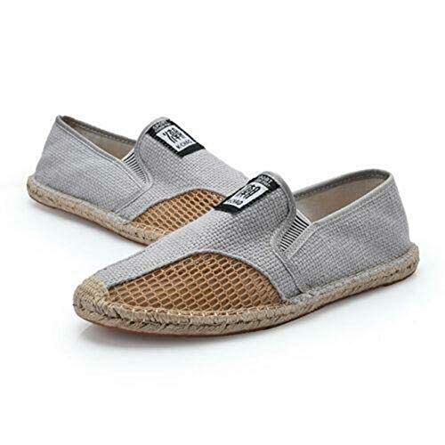 Mens Canvas Pumps Slip On Loafers Driving Fisherman Outdoor Shoes Summer b Grey US9\u002F9.5