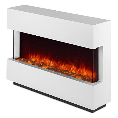 Klarstein Studio-1 • elektrischer Kamin • E-Kamin • Kaminofen • LED-Flammensimulation • große Front • MDF-Holz • 750 und 1500 W Leistung • Heizlüfter für 40 m² • Fernbedienung • Flammeneffekt steuerbar • Glasseitenteile und Kohlebett • weiß - 8