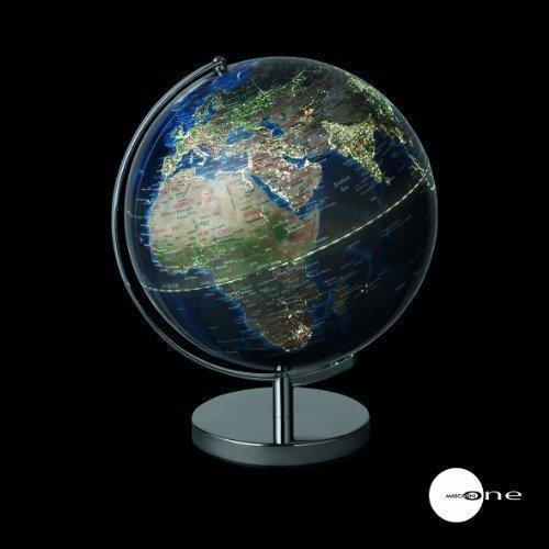 Mascagni Globe terrestre Villes Lumineuses avec Prise USB et Secteur diamètre 30 cm Bleu