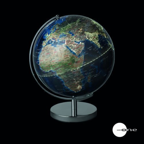 Mascagni Globo terráqueo con Ciudades iluminadas con Toma USB y Sector diámetro 30cm Azul
