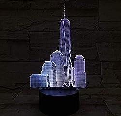 World Trade Center Usb 3D Led Nachtlicht Lampe Dekoration Kinder Baby Geschenk Berühmte Gebäude Tischlampe Nacht Neon