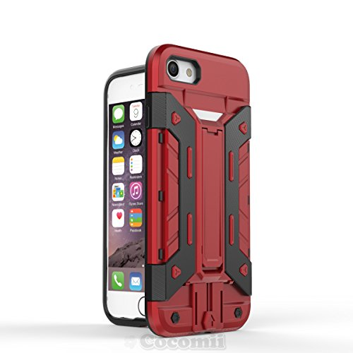 iPhone 8 / iPhone 7 Hülle, Cocomii Transformer Armor NEW [Heavy Duty] Premium Built-in Multi Card Holder Kickstand Shockproof Hard Bumper Shell [Military Defender] Full Body Dual Layer Rugged Cover Ca Red
