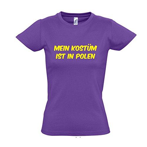 Damen T Kostüm Shirt Light - Damen T-Shirt - Mein Kostüm ist in Polen FASCHING, KARNEVAL, PARTY SHIRT S-XXL , Light purple - gelb , XXL