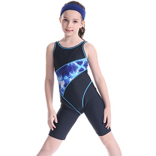 HAOKTY Baby Kinder Mädchen Schwimm Sports Badeanzug mit Bein Schwimmanzug Einteiler Badenmode (Blau 1, 164)