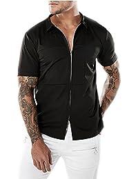 BaronHong Camisa Causal Sólida con Cremallera de Manga Corta para Hombres