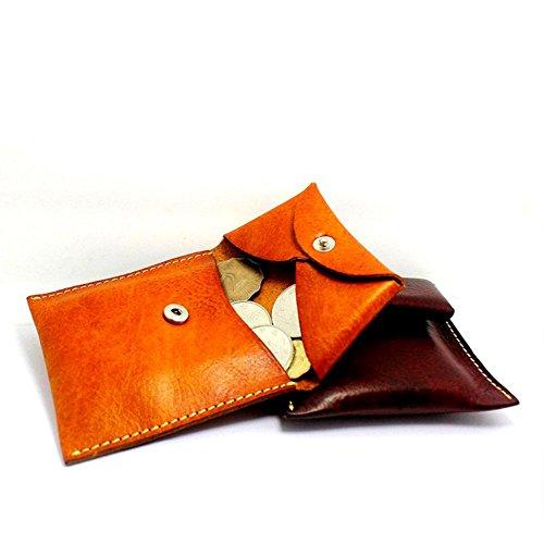 UK_Stone Unisex Handgemacht Originell Bueffel Echt Feder Muenzboerse Geldbeutel Portemonnaie Schwarz