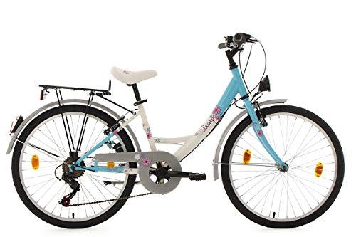 KS Cycling Mädchen Fahrrad Dacapo Florida RH 36 cm, weiß/Blau, 24