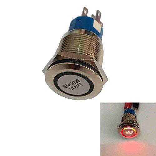 Mintice 19mm rouge LED 12V bouton poussoir voiture métal interrupteur momentané Lumière intérieure Engine Start