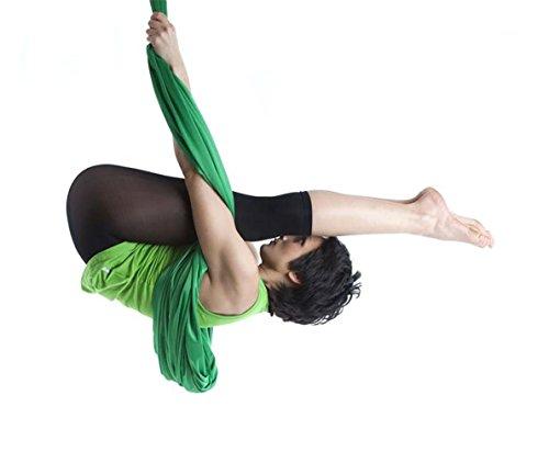 5M Yoga DIY Silk Antigravity Yoga Amacadi Yoga Amaca per Pilates Altalena Attrezzatura per danza aerea Aerial Silks YOGA SWING Incluso solo il tessuto non gli altri accessori (Verde scuro)