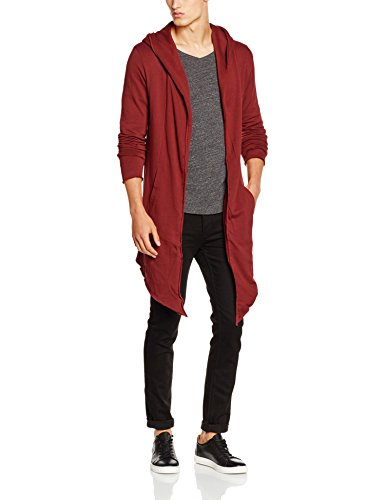Urban Classics TB1389 Herren Strickjacke Long Hooded Open Edge Cardigan, Rot (burgundy 606)