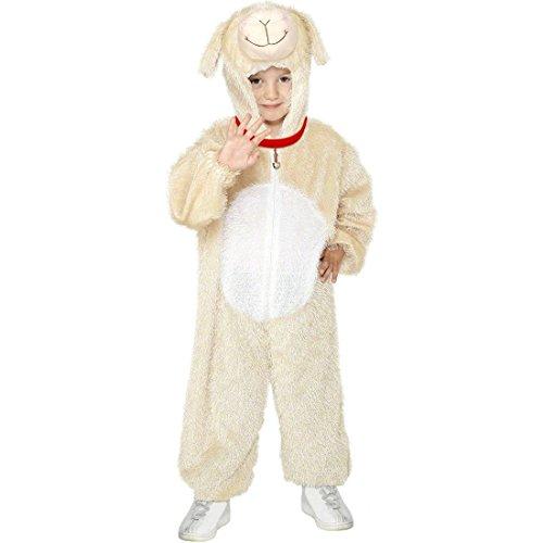 Kinder Lamm Kostüm Kinderkostüm Schaf beige 5-8 Jahre 128 - 140 cm Lammkostüm Ganzkörperanzug Schäfchen Schafkostüm Overall