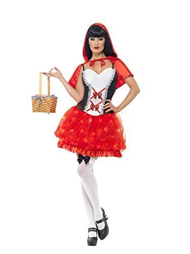 Smiffys, Damen Rotkäppchen Kostüm, Leuchtendes Kleid und Umhang, Größe: L, 21973