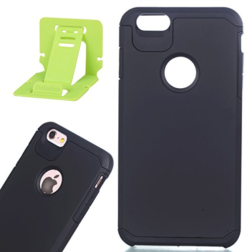 Per iphone 6 plus/6S plus 5.5 pollici Custodia, Ekakashop di lusso Hybrid Heavy Duty antiurto morbido silicone Gel & Rigida PC 2-in-1 non Layer antiscivolo Anti-dirt Protezione Protettivo Cover Case p Nero