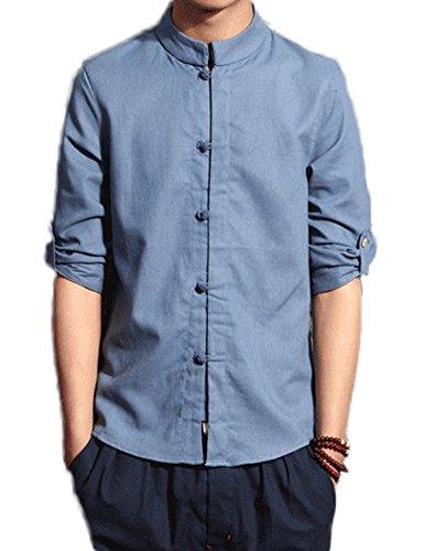 Idopy Cuello de Lino de algodón Tradicional Chino de los Hombres Camisa de botón de la Rana del Cuello del mandarín Seis Colores
