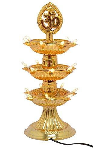 Buycrafty 3 Layer-electric Doré lampe Deepak lampe de riz de vœux de Noël Motif Diwali Décoration lumière LED