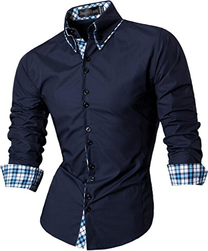 jeansian Herren Freizeit Hemden Shirt Tops Mode Langarmshirts Slim Fit Z023 Navy