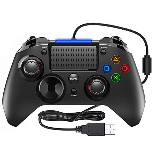 Preisvergleich Produktbild PlayStation 4 - PS4 Controller PICTEK Wired Gaming Gamepad PlayStation 4 Joysticks mit Mikrofon und Dual-Vibration-Turbo für PS4 / PS3 / PC (Windows XP / 7 / 8 / 8.1 / 10) / Android / Steam-Schwarz