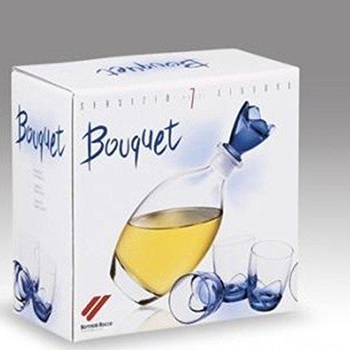 Servizio completo 7 pezzi per servire Liquore WHISKY bottiglia + 6 bicchierini Bouquet blu Bormioli