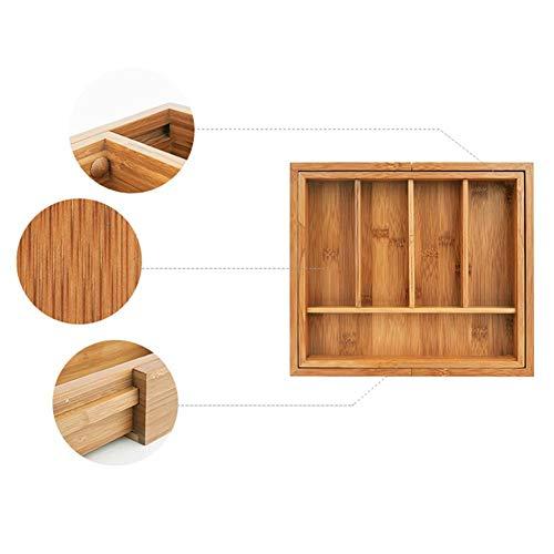 Rich-home Besteckkasten Bambus, erweiterbare Besteck Aufbewahrungsbox Küche Schublade Teiler für Shop Teelöffel, Suppenlöffel, Gabel, Messer, etc. (Holz-küche-schublade Teiler)