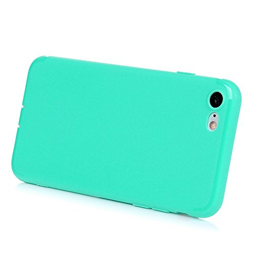 iPhone 7 Hülle KASOS iPhone 7 Handyhülle Schale TPU Etui Protective Case Schützende Stoßdämpfung Cover mit Stöpsel Staubschutz Transluzent Mintgrün